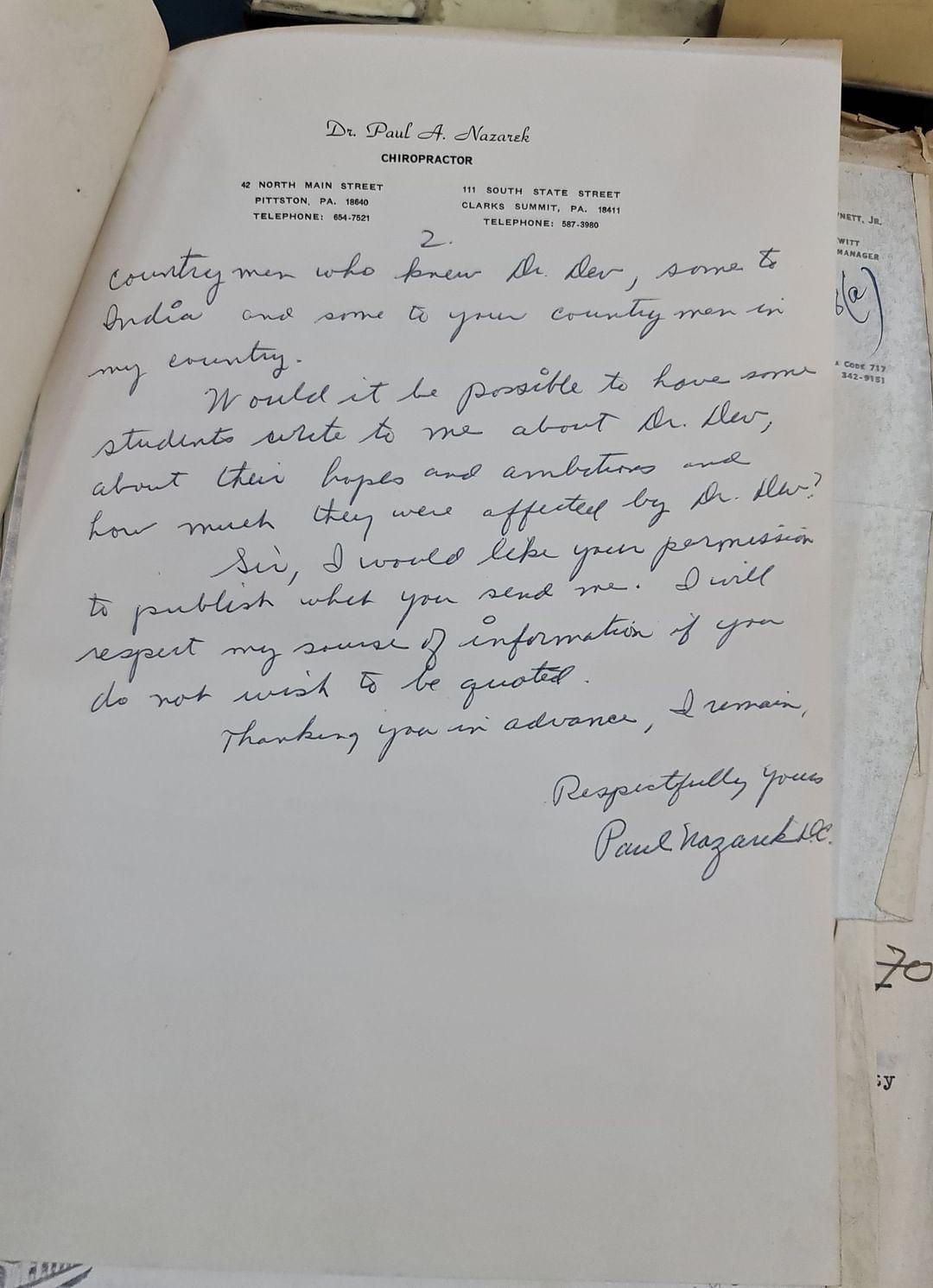 ১৯৭১ সালে ঢাকা বিশ্ববিদ্যালয়কে লেখা নাজারেকের চিঠির একাংশ