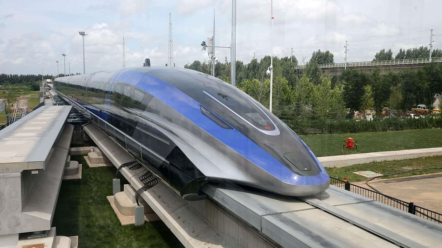The maglev train was built in Qingdao, China.