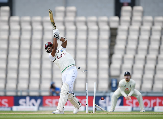 West Indies' Shannon Gabriel is bowled out by England's Mark Wood.