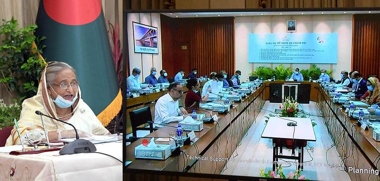Prime minister and ECNEC chairperson Sheikh Hasina joins the ECNEC meeting from her official Ganabhaban residence through a videoconference on 14 July 2020