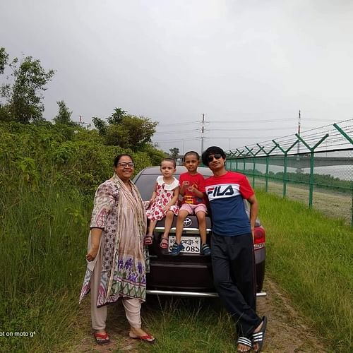 Former major of Bangladesh Army Sinha Mohammad Rashed Khan with his mother