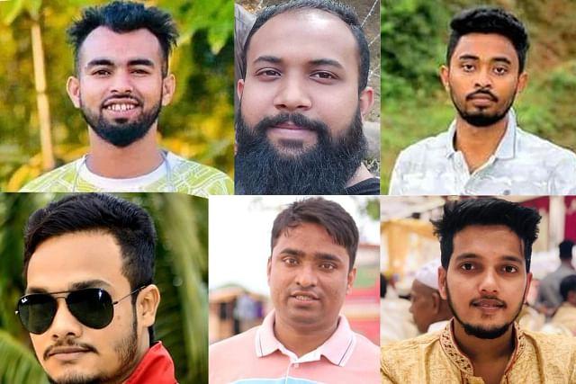 (From L-R) Saifur Rahman, Tarequl Islam, Shah Mahbubur Rahman alias Rony, Arjun Laskar, Rabiul Islam, and Mahfuzur Rahman alias Masum