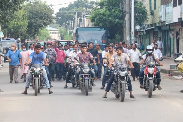 AL party men in a bike procession around Khalishpur area on Sunday when a coffin procession was scheduled to be taken out in demand of jute mills to be reopened