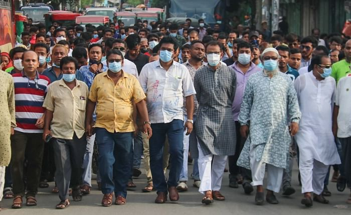 AL men repeatedly rallied around Khalishpur area on Sunday when a coffin procession was scheduled to be taken out in demand of jute mills to be reopened