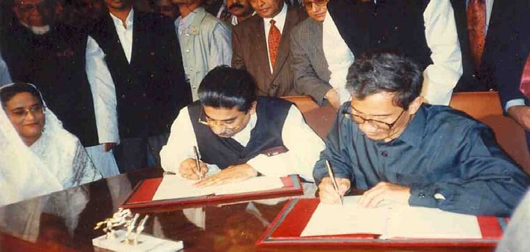 The signing of a peace deal between PCJSS and Awami League-led government in 1997