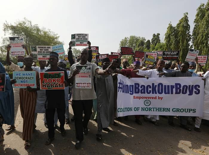 Demonstrators gather to urge authorities to rescue hundreds of abducted schoolboys, in northwestern state of Katsina, Nigeria, 17 December, 2020
