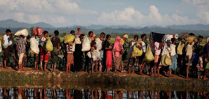 Rohingya exodus from their homeland, making their way to Bangladesh