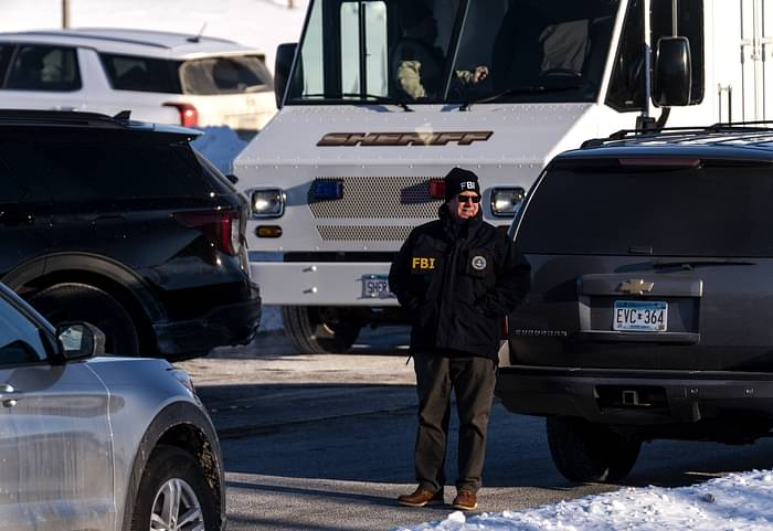A member of the FBI is seen outside the Allina Health Clinic where a shooting took place earlier today on 9 February 2021 in Buffalo, Minnesota