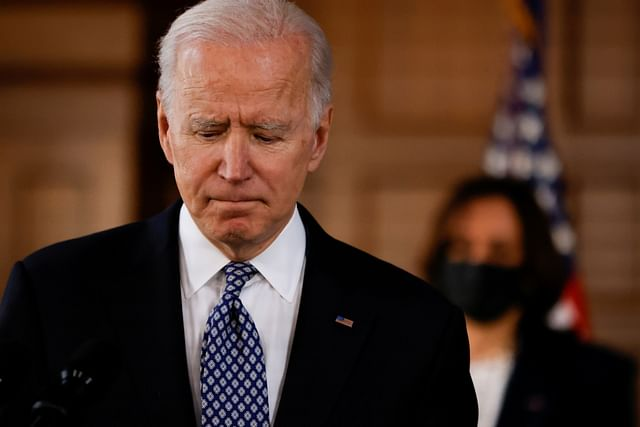 """US president Joe Biden delivers remarks after a meeting with Asian-American leaders to discuss """"the ongoing attacks and threats against the community,"""" during a stop at Emory University in Atlanta, Georgia, US, on 19 March 2021"""