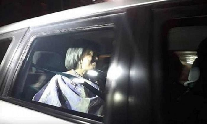 Former US ambassador Marcia Bernicat in her car