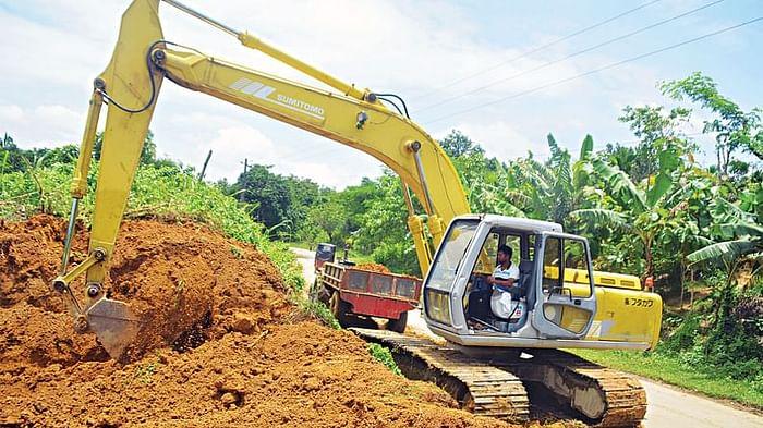 Hills in Babuchara Noapara area of Dighinala in Khagrachhar were cut down openly with excavators