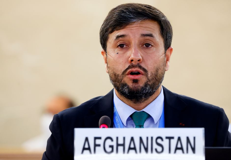 Afghanistan Ambassador Nasir Ahmad Andisha speaks during a special session of the Human Rights Council on the situation in Afghanistan, at the European headquarters of the United Nations in Geneva, Switzerland, on 24 August 2021