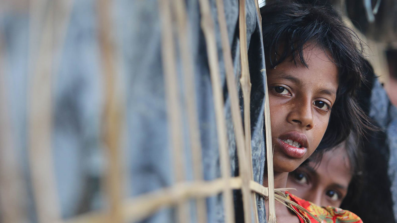 Suffering etched on the faces of little Rohingya children driven from their country. Picture taken at the Balukhali camp.