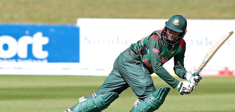 Shakib Al Hasan plays a shot.